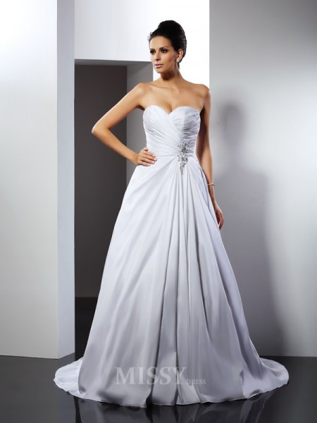 A-Line/Princess Sweetheart Court Train Satin Wedding Dress With Lace Ruffles