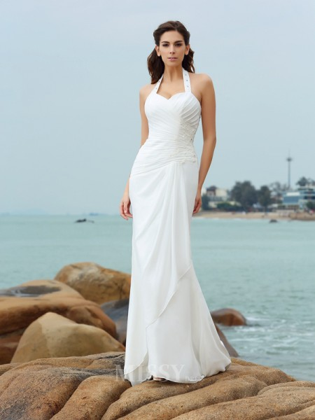 Sheath/Column Halter Court Train Chiffon Wedding Dress With Embroidery Pleats
