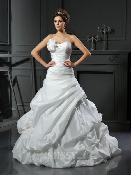 Ball Gown Satin Sweetheart Cathedral Train Hand-Made Flower Wedding Dress With Pleats