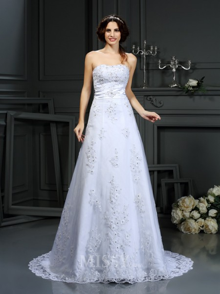 A-Line/Princess Strapless Satin Court Train Wedding Dress With Ruffles Applique