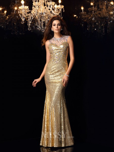 Trumpet/Mermaid High Neck Sequins Floor-Length Dress With Beading