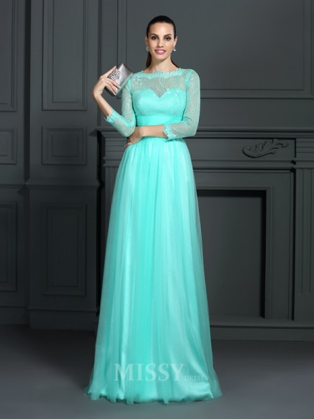 A-Line/Princess Bateau 3/4 Sleeves Lace Sweep/Brush Train Elastic Woven Satin Dress With Pleats