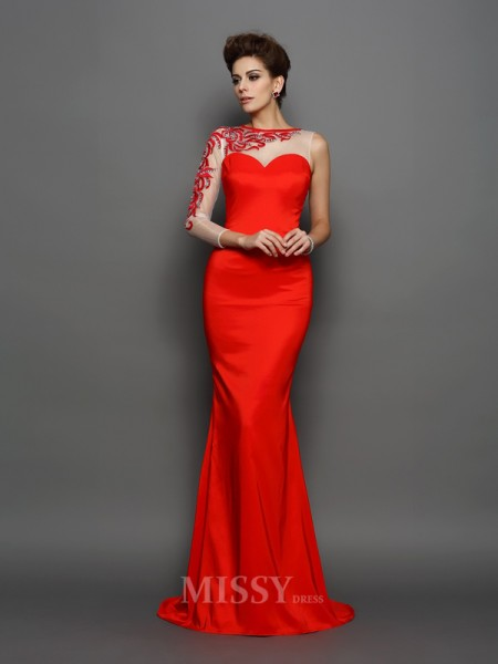 Trumpet/Mermaid High Neck Long Sleeves Elastic Woven Satin Court Train Dress With Embroidery