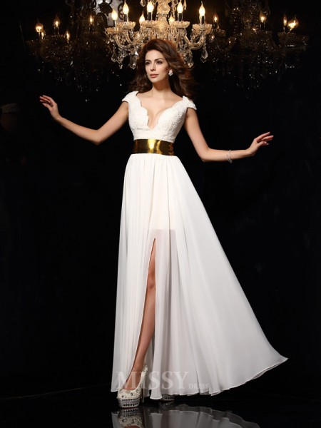 A-Line/Princess V-neck Lace Chiffon Floor-Length Dress With Ruffles