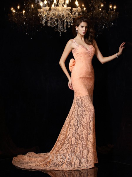 Sheath/Column Straps Lace Satin Court Train Dress With Beading