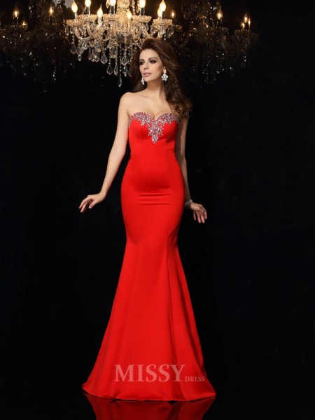 Sheath/Column Sweetheart Satin Court Train Dress With Pleats Beading
