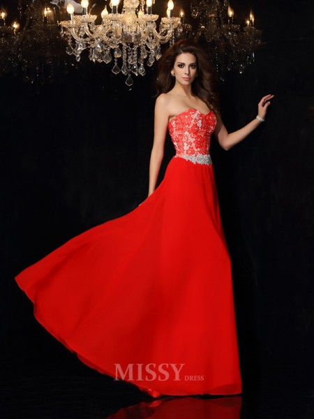 A-Line/Princess Sweetheart Lace Chiffon Floor-Length Dress With Ruched