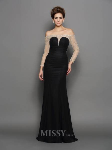 Trumpet/Mermaid Off-the-Shoulder Long Sleeves Chiffon Sweep/Brush Train Dress With Beading