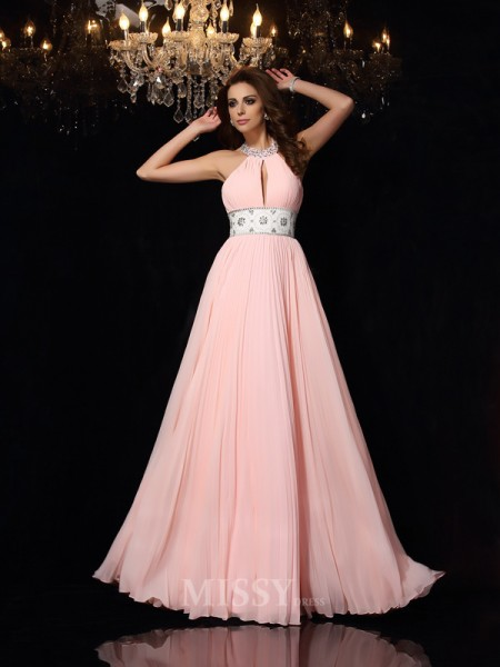 A-Line/Princess High Neck Chiffon Floor-Length Pleats Dress With Beading