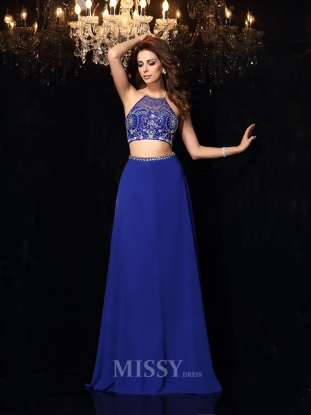 A-Line/Princess High Neck Beading Chiffon Sweep/Brush Train Two Piece Dress With Lace