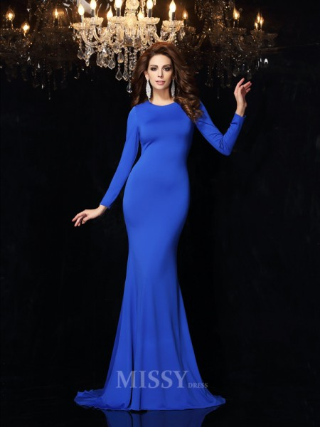 Trumpet/Mermaid Scoop Long Sleeves Sweep/Brush Train Spandex Dress With Embroidery