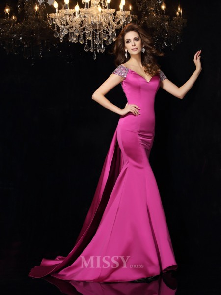 Trumpet/Mermaid Off-the-Shoulder Satin Court Train Dress With Pleats