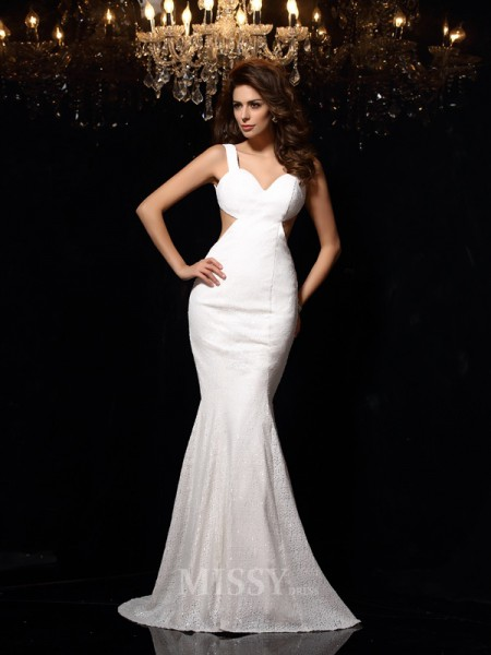 Trumpet/Mermaid Straps Lace Court Train Dress With Beading