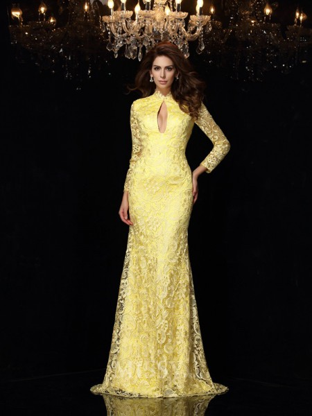 Sheath/Column High Neck Long Sleeves Lace Satin Sweep/Brush Train Dress With Ruched