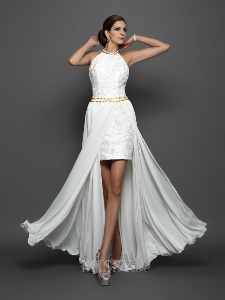 A-Line/Princess High Neck Lace Chiffon Chapel Train Wedding Dress With Beading