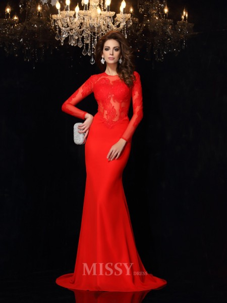 Sheath/Column Scoop Long Sleeves Lace Chiffon Court Train Dress With Ruched