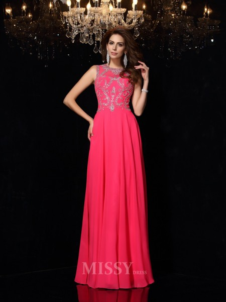 A-Line/Princess Scoop Chiffon Floor-Length Dress With Lace