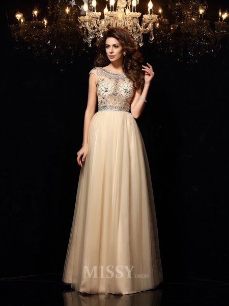 A-Line/Princess Scoop Net Floor-Length Dress With Embroidery