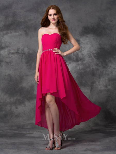 A-line/Princess Sweetheart Asymmetrical Chiffon Dress With Applique Beading