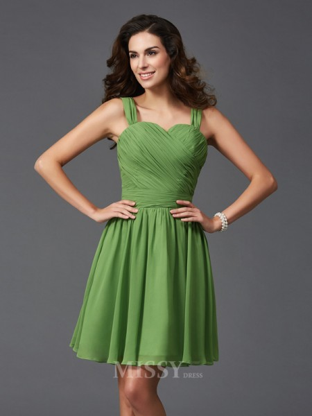 A-Line/Princess Straps Mini Silk like Satin Bridesmaid Dress With Beading Ruffles