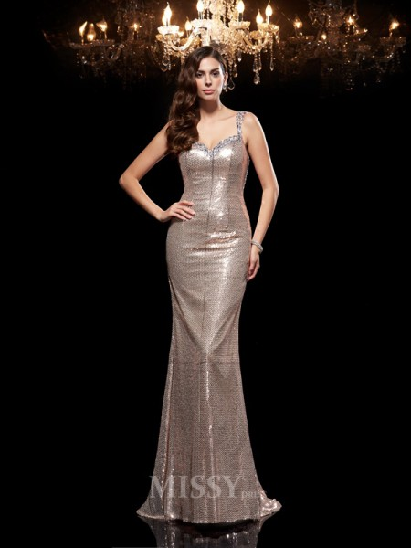 Sheath/Column Straps Sequins Sweep/Brush Train Dress With Beading