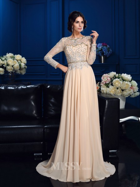 A-Line/Princess Scoop Long Sleeves Sweep/Brush Train Chiffon Mother Of The Bride Dress With Rhinestone