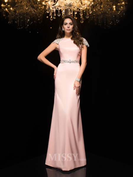Sheath/Column Jewel Short Sleeves Satin Floor-Length Dress With Beading