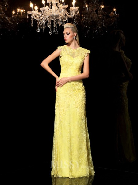 Sheath/Column Sheer Neck Lace Floor-Length Chiffon Dress With Beading