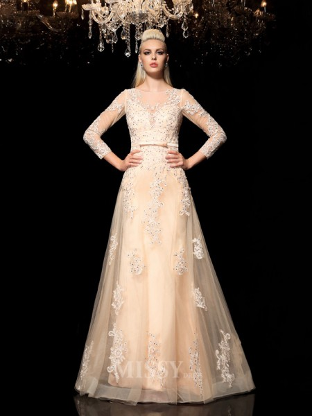 A-Line/Princess Sheer Neck Long Sleeves Floor-Length Satin Dress With Applique