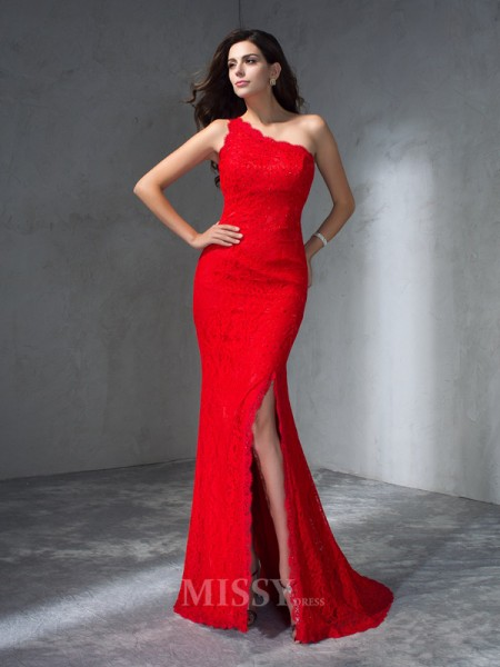 Trumpet/Mermaid One-Shoulder Sweep/Brush Train Lace Dress With Beading