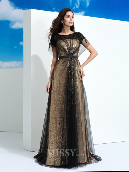 A-Line/Princess Sheer Neck Short Sleeves Floor-Length Net Dress With Sash Paillette