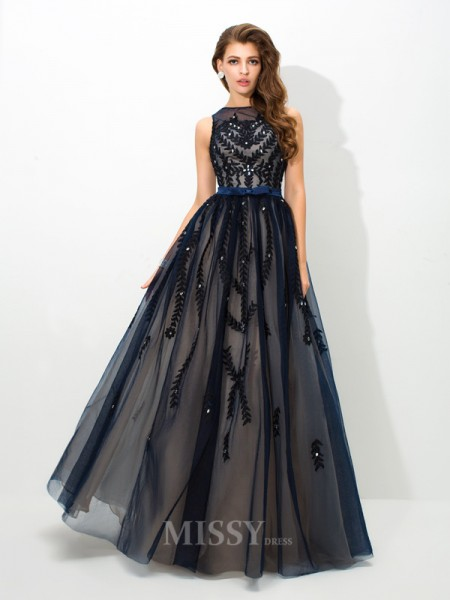 A-Line/Princess Sheer Neck Floor-Length Tulle Dress With Beading Applique