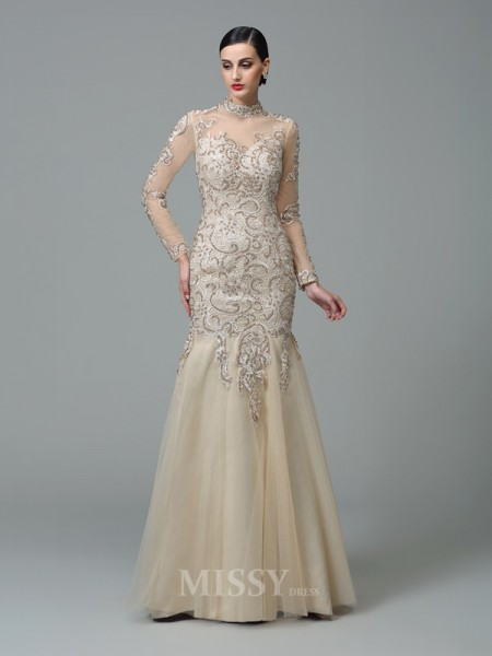 Sheath/Column High Neck Long Sleeves Floor-Length Net Dress With Pleats Beading