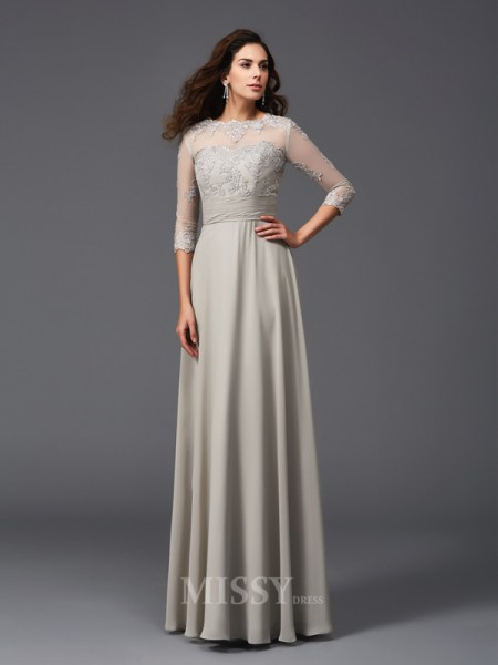 A-Line/Princess Scoop 3/4 Sleeves Chiffon Floor-Length Dress With Beading Applique