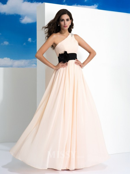 A-Line/Princess One-Shoulder Floor-Length Chiffon Dress With Beading Sash/Ribbon/Belt