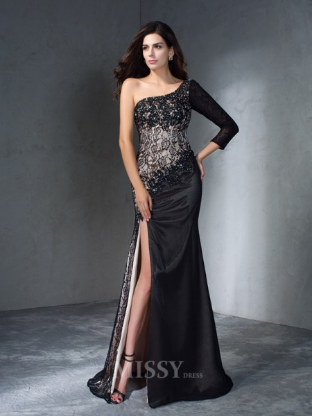 Trumpet/Mermaid One-Shoulder 3/4 Sleeves Sweep/Brush Train Lace Dress With Ruched