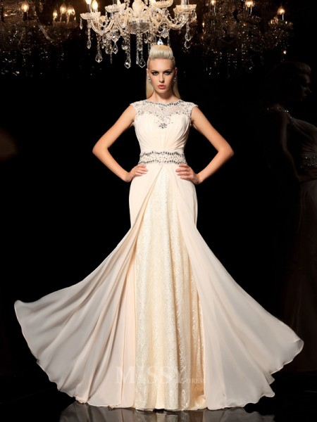 A-Line/Princess Sheer Neck Floor-Length Chiffon Dress With Beading