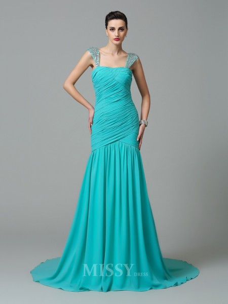 A-Line/Princess Straps Court Train Chiffon Dress With Sash Ruched