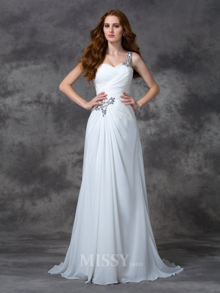 A-line/Princess One-Shoulder Sweep/Brush Train Chiffon Dress With Applique Beading