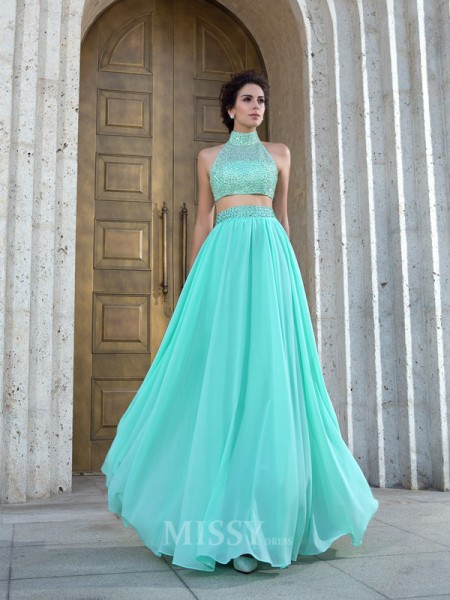 A-Line/Princess High Neck Chiffon Beading Floor-Length Two Piece Dress With Sequin