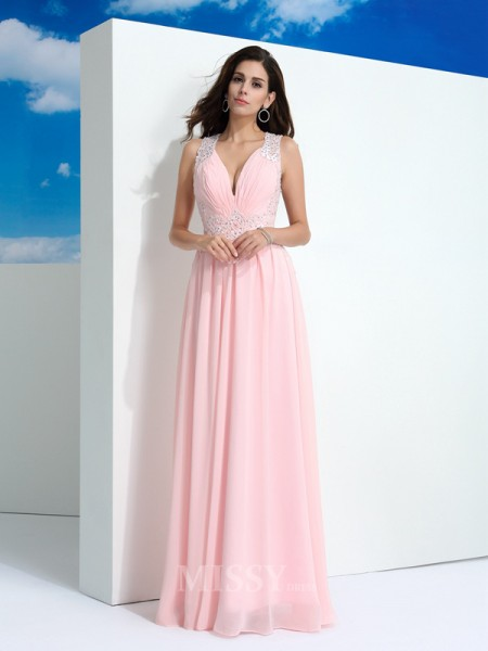 A-Line/Princess Straps  Floor-Length Chiffon Dress With Embroidery Beading