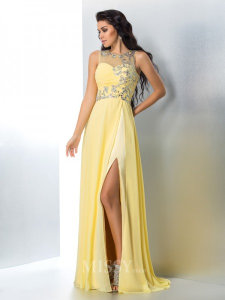 A-Line/Princess Sheer Neck Chiffon Sweep/Brush Train Gown Beading