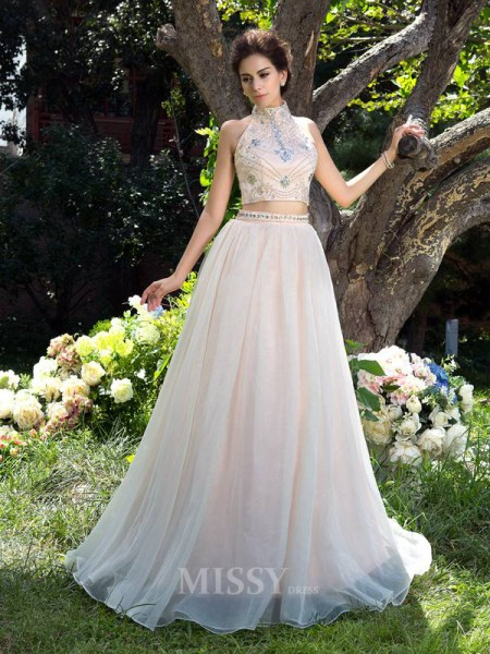 A-Line/Princess High Neck Net Sweep/Brush Train  Two Piece Dress With Ruffles Beading