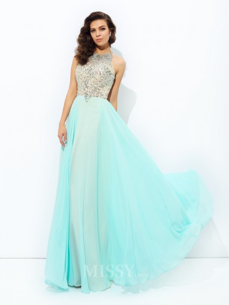 A-Line/Princess Jewel Floor-Length Chiffon Dress With Beading
