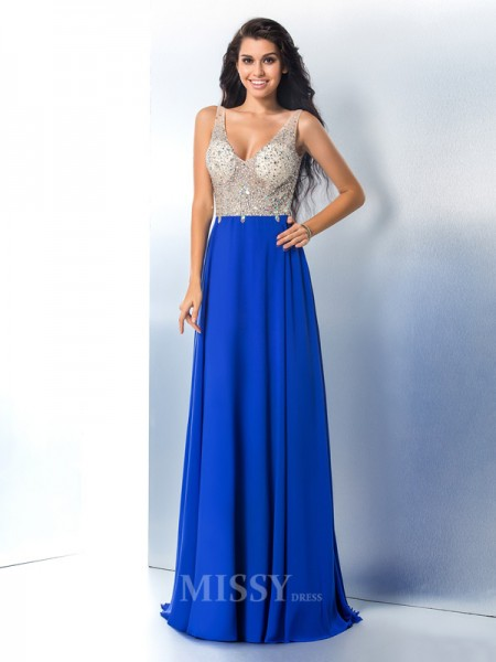 A-Line/Princess Straps Chiffon Sweep/Brush Train Gown Sequin Beading