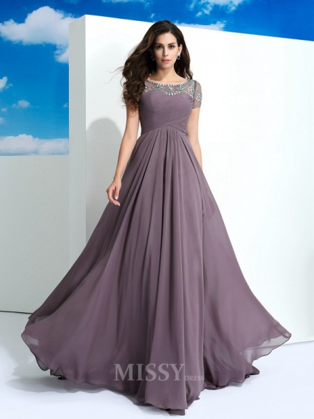 A-Line/Princess Sheer Neck Short Sleeves Floor-Length Chiffon Dress With Beading