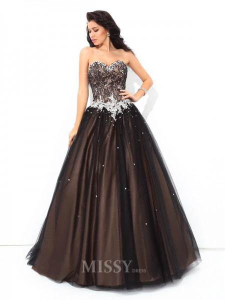 Ball Gown Sweetheart Floor-Length Net Quinceanera Dress With Embroidery Beading