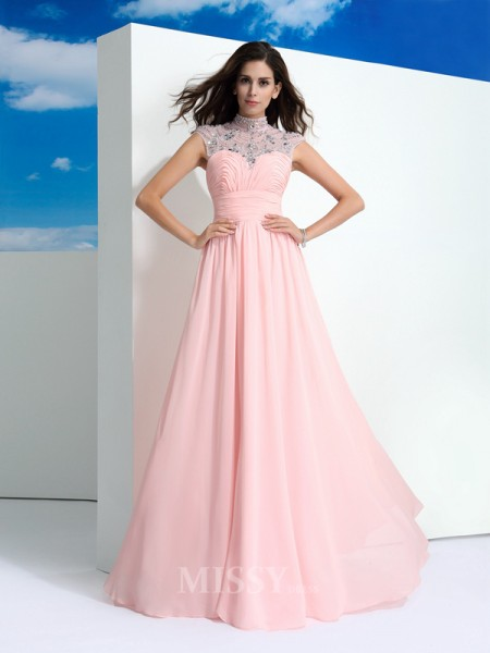 A-Line/Princess Sheer Neck Beading Floor-Length Chiffon Dress With Ruched