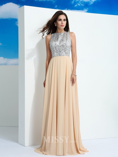 A-Line/Princess Scoop Paillette Sweep/Brush Train Chiffon Dress With Beading