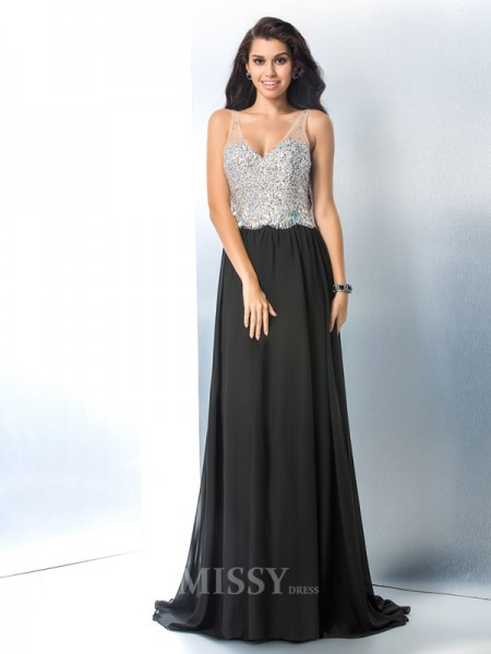 A-Line/Princess V-neck Sweep/Brush Train Chiffon Gown Beading